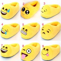 Wholesale Smile Video - Emoji Plush Shoes Emoji Smile Facial Super Soft QQ Expression Poops Warm Home Winter Slippers Kid Women Men Embroidery Cotton Christmas Gift