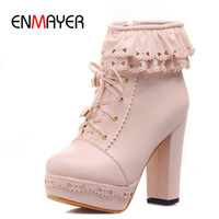 Wholesale Girl S Boots Leather - Wholesale-ENMAYER Motorcycle Fashion Boots New Round Toe Ankle Boots for Women Snow Platform Warm Women Boots Girls Shoes s Punk Rock