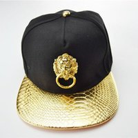 Wholesale Wholesale Personalized Baseball Hats - Wholesale- Hot Sale Hip-hop Flat Brimmed Baseball Cap Snapback Caps Metal Lion Head Hats Men Women Personalized Pu Leather Cotton Hat