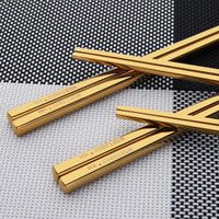 Wholesale Sushi Sticks - Wholesale- Hot Sale 1 Pair Titanium Plating Gold Chinese Chopsticks Reusable 304 Stainless Steel Chop Sticks Sets Sushi Hashi Baguette