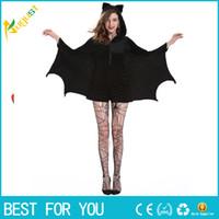 Wholesale Sexy Play Costume - Black sexy female cos Halloween make-up ball play costume vampire uniform Cosplay Costume Black Clothing