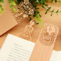 Wholesale Stationery Items For Gift - High Quality 10pcs Lot Creative Vintage Hollow Wooden Bookmark Lovely Girl Bookmarks For Book Novelty Item Stationery Free Shipping Gifts