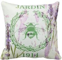 lavanda francesa al por mayor-Throw Pillow Case, Shabby Chic Lavender Vintage Bee Sofá francés Country Square y fundas para el automóvil,