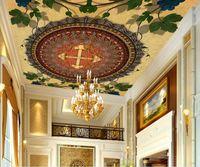 padrão de uva venda por atacado-Personalizado 3d moderno teto Círculo mandala padrão uvas papéis de parede para sala de estar teto 3d murais de parede papel de parede europeu