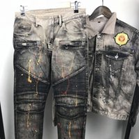 Wholesale Designer Motorcycle Jackets Men - 2017 New brand jeans motorcycle for men Slim denim Robin Jeans high fashion designer famous paint jeans and Denim jacket outfit 2PCS