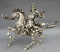 Wholesale Silver Horse Statue - Elaborate Chinese Collectable Tibetan Silver Warrior God Guan Yu Riding on the Horse Statue