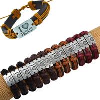 Wholesale Antique Snake Bracelet - Wholesale-Fashion 12PCS i love JESUS Genuine Leather Bracelet Antique Silver Pendant Rope Chain Wrap Bracelet