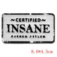 Wholesale Arkham Joker - Certified insane arkham asylum batman the joker full of embroidery badge iron on patch