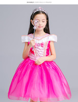 Wholesale Short Dress Sleeping - Sleeping Beauty Aurora Princess Dress Kids Halloween Costume Fancy Party Christmas Prom performance Dresses for Girls free shipping