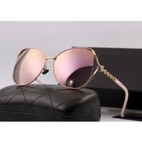 Wholesale Ladies Leg Sunglasses - 2017 woman sunglasses Brand lady designer with box logo chain legs UV400 polarizing fashion sunglasses for womens 6 colors