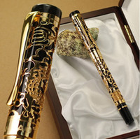 Wholesale executive metal pens - High Quality JINHAO 5000 Black And Golden Dragon Embossed F Nib Fountain Pen Stationery School Executive Writing Pens