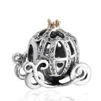 Wholesale Authentic Sterling Silver Cinderella Pumpkin Charm Beads Gold Plated CZ Rhinestone Pumpkin Bead Fits Pandora Bracelets DIY Fine Jewelry