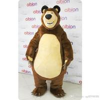 venda de trajes de mascote de urso venda por atacado-2017 venda direta Da Fábrica Masha Urso Ursa Grizzly Trajes Da Mascote Animal Masha Urso adulto Personagem Mascote Dos Desenhos Animados