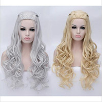 Wholesale Long Cosplay Wigs Free Shipping - New!! Game of Thrones Daenerys Targaryen Cosplay Wig Braided Long Curly Anime Wigs Daenerys Hair Women Costume Wig Free Shipping