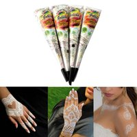 Wholesale Temporary Tattoo Ink Wholesale - White Natural Indian Henna Cones Paste Temporary Tattoo For Bridal Wedding Body Drawing Art Paint Ink 25g Tattoo Supplies ZA2317