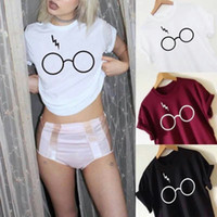 Wholesale Womens Black Tee - New Harry Potter Lightning Glasses Print T-Shirt Harajuku O-Neck Short Sleeve T Shirts Loose Lady Femme Womens Tops Tees 2XL