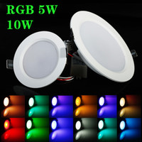 mejores luces de panel led al por mayor-El mejor RGB 5W 10W LED luz de panel de techo AC85-265V 24Color Downlight lámpara del bulbo con mando a distancia Envío gratis CE UL