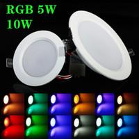meilleur led voyants achat en gros de-Meilleur RGB 5W 10W LED Panneau de plafond Lumière AC85-265V 24Color Downlight Ampoule Lampe avec télécommande Livraison gratuite CE UL