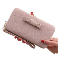 Wholesale Lunch Box Organizer - Wholesale- Women wallets Long design Wallet cute bow student lunch box purse large capacity mobile phone