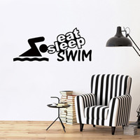 Wholesale Wall Words Decals Lettering Stickers - Hot Sale Eat Sleep Swim Funny Word Lettering Vinyl Decorative Wall Stickers Art Decals For Home Diy
