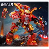 WAZ Compatible legoe marvel Lepin 38001 338pcs super héros film Iron Man Ironman Mech blocs de construction Bricks jouets pour enfants
