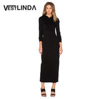 bayanlar kapüşonlu elbise toptan satış-VESTLINDA Kadınlar Casual Elbise Uzun Kollu Uzun Bodycon Elbiseler Siyah Düz Kalem Vestidos Bayanlar Pamuk Maxi Kapşonlu Elbise
