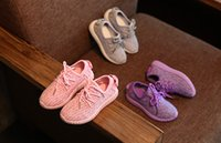 Wholesale Girls Kids Shoes Purple - 21-36 Autumn Children 350 Sports grey purple pink Casual sneaker Boys Girls Coconut trainer Breathable Mesh Kids Shoes