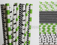 Wholesale Cheap Chevron - Wholesale-100pcs Drinking Paper Straws Mix,Lime Green Polka Dot and Sailor Striped,Black Chevron and Mustache,Cheap Cute Kids Party Decor