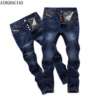 Wholesale Jean Capris For Men - Wholesale- AIRGRACIAS Brand High Quality Style Brand Mens Jeans Dark Color Cotton Ripped Jeans For Men Fashion Designer Biker Jean