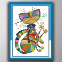 Wholesale Wholesale Crosses Decor - Colorful cat animal cartoon decor paintings , Handmade Cross Stitch Embroidery Needlework sets counted print on canvas DMC 14CT  11CT