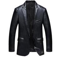 Wholesale Pu Leather Blazer For Men - Blazer Leather Jackets for Men PU Blazer Slim Fit Blue Black Camel Slim Pu Leather Suit Jackets Men's Waterproof Blazer Coats