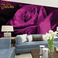 lila tapete für wohnzimmer großhandel-Großhandels-Gewohnheits-Wandbild-Tapete 3D Stereo-nichtgewebte Wandgemälde Schlafzimmer-Wohnzimmer-Fernsehhintergrund-purpurrote Rosen-Blume 3D Fototapeten-Rollen