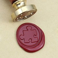 Vintage Puzzle Wax Seal Stamp With Rosewood Handle DIY Artes e Ofícios