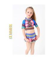Wholesale Swimsuit Body Short - European and American new national wind pattern children's bathing suit girl child's body short sleeve skirt swimsuit