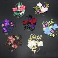 Wholesale embroidered cheongsam dress - 20pcs Rose Flower Stickers Iron On Patches parches Ethnic Embroidered Jacket Dress Patch For Clothing Cheongsam Patchwork Badge Appliqued