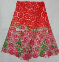 Wholesale Swiss Voile Lace Organza - XZ007Z-8 red color Handcut organza voile lace Swiss french lace fabric Nigeria wedding lace 5 yards