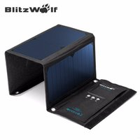 Venta al por mayor-BlitzWolf original 20W 3A Portable Power Bank móvil plegable Powerbank Celular USB Solar Panel cargador SunPower para el teléfono