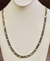 """Wholesale Curb Link Mens Gold Necklace - 10k Solid Gold Handmade Figaro Curb link mens chain necklace 24"""" 57 Grams 6.5 MM"""