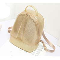 Wholesale Silicone Jelly Beach Bag - Wholesale- Glitter ! 2016 New Women Mini Candy Color PVC Jelly Backpack Beach Bag Girls Waterproof Silicone Shoulder School Bags Summer
