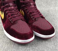 Wholesale Spring Women 43 Shoes - New shoes basketball men Retro 1 GS Night Maroon Velvet Heiress Red Women Basketball shoes I sports sneakers Wholesale trainers size 36-43