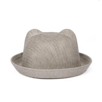Wholesale Polyester Web - High quality Spring and summer linen web hat ladies flanging hat tide female cat ear bowl cap WMB004