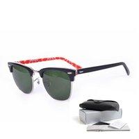 Wholesale Half Frame Square Glasses - Excellent Brand Designer Sunglasses with Original Logo box Club Summer Classical Sunglasses Half Plank Frame Sunglasses Men Women