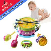 Wholesale Sanding Drum Set - CongMingGu 5pcs set Musical Instruments Playing Colorful Educational Toys Drum, Handbell, Trumpet, Sand Hammer or Drum Sticks