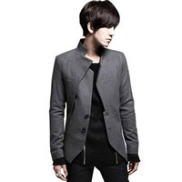 Wholesale Mens Suits Mandarin - Wholesale- 2017 New Arrival Blazer Men Black Gray Slim Fit Casual Asymmetrical Male Suit Coat Mens Blazer Jacket Spring Autumn# A42227