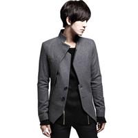 Wholesale Mandarin Collars Blazer - Wholesale- 2017 New Arrival Blazer Men Black Gray Slim Fit Casual Asymmetrical Male Suit Coat Mens Blazer Jacket Spring Autumn# A42227
