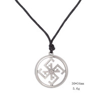 Wholesale Russian Gold Chains - Slavic Supernatural Pendant Against Diseases Talisman Amulet Russian Ethnic Necklace Black Rope Chain Jewelry two colors