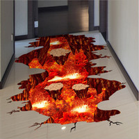 Wholesale 3d Wall Art Large Sticker - 3D Volcanic Magma Crack Floor Stickers DIY Removable PVC Decal Wall Stickers Bedroom Living Room Corridor Background Decoration