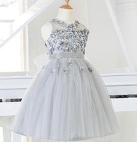 Wholesale Girl Beads European - 2015 Silver tulle Princess Girl Party Dresses Bead Appliques Tutu Wedding Dress for Christmas Kids Birthday clothes 12M-12Y