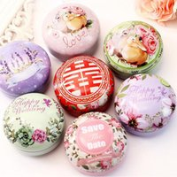 Wholesale Coffee Box Packaging - 8.5*6cm European Style Round Flower Drawing Portable Tea Sugar Coffee Coin Storage Box Tin Box Wedding Candy Package ZA3429