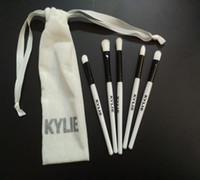 Wholesale 5pc Set Brush - Kylie Blush Face Brush Set Oval Brush Cream Puff Power Makeup Beauty Cosmetic Foundation Brush 5pc set